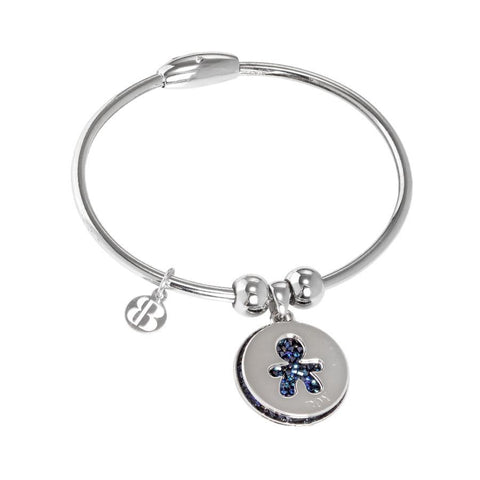Bracelet with charms and Swarovski Cristal rock bermuda blue