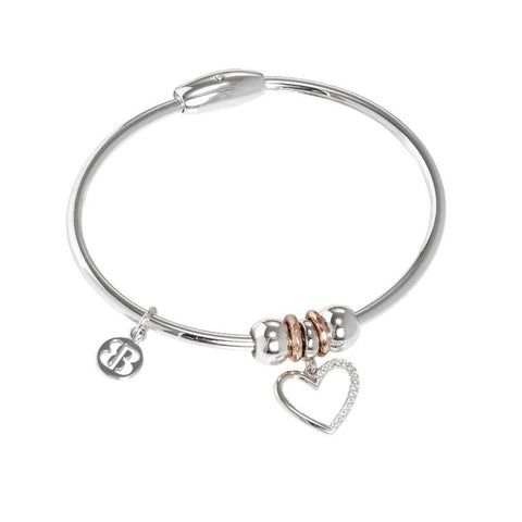 Bracelet with charm in zircons in the shape of a heart