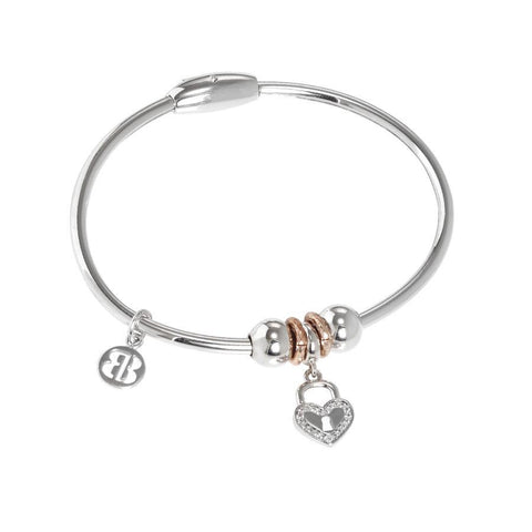 Bracelet with charm in zircons in the shape of a heart with padlock