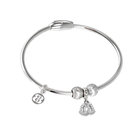 Bracelet with charm in the shape of the foot in zircons