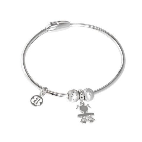 Bracelet with charm in the shape of a girl in zircons