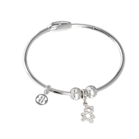 Bracelet with charm in the shape of a teddy bear in zircons
