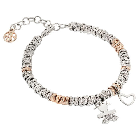 Bracelet bicolor with zirconata girl and the heart