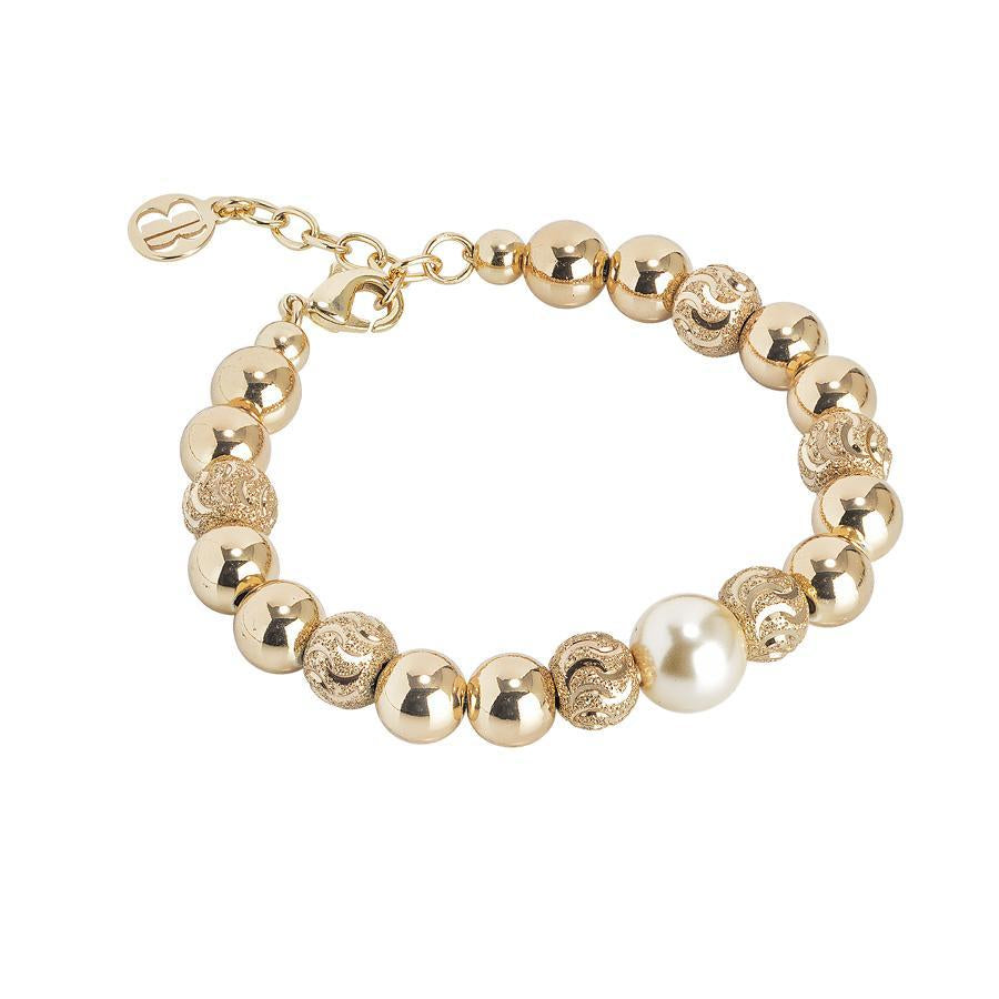 Bracelet with pearl Swarovski light gold