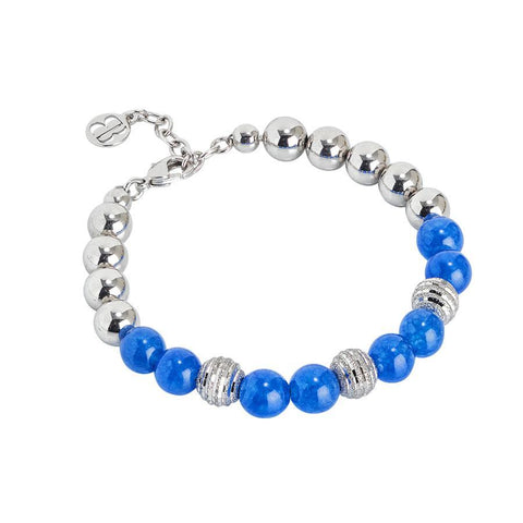 Bracelet rodiatos with Blue Agate