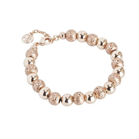 Bracelet rosato with smooth balls and diamond from the dimpled effect
