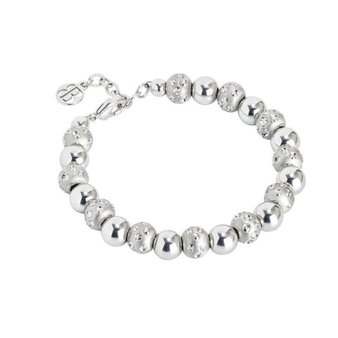 Bracelet rodiatos with smooth balls and diamond from the dimpled effect