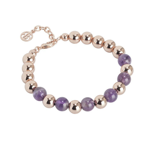 Bracelet rosato with smooth balls and amethyst