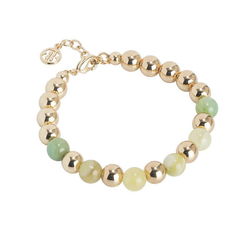 Golden Bracelet with smooth balls and agata light yellow