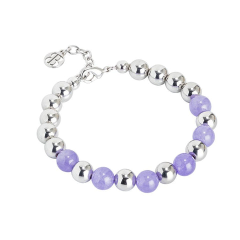 Golden Bracelet with smooth balls and jade lilac