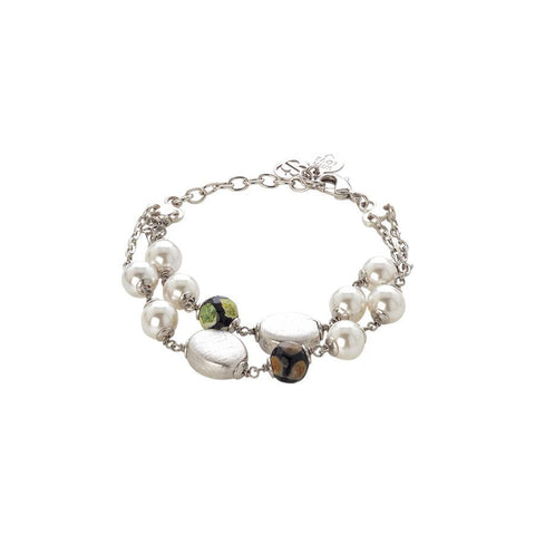 Bracelet double thread with Swarovski beads white and passing of agate mix matt