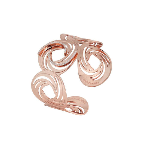 Cuff band gold plated pink with decorative pattern to the Vortex and zircons