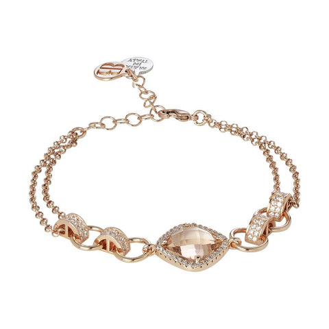 Bracelet double wire with crystal peach and zircons