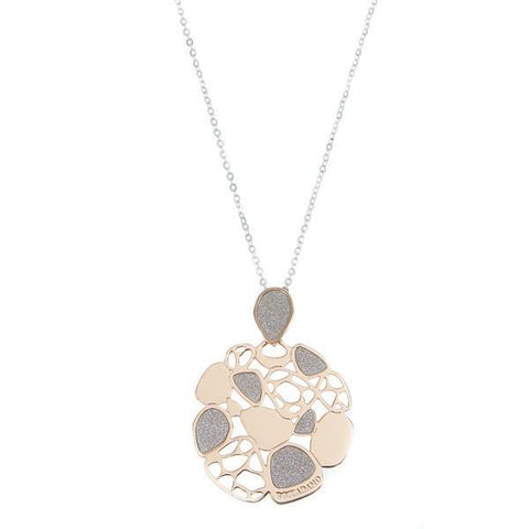Necklace bicolor with glitter and perforated pendant