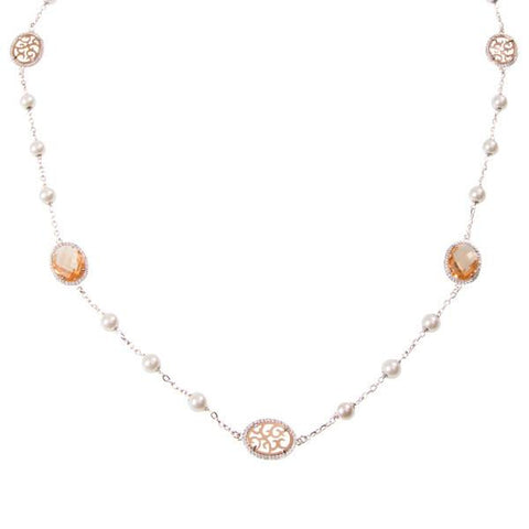 Long necklace with crystals briolette champagna, Swarovski beads and zircons