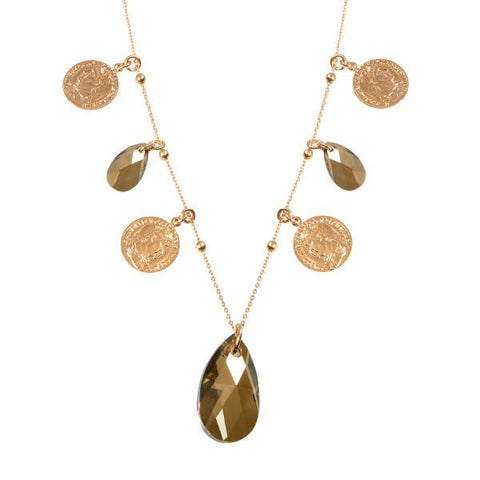 Long necklace with charms and crystal drop bronze final shade