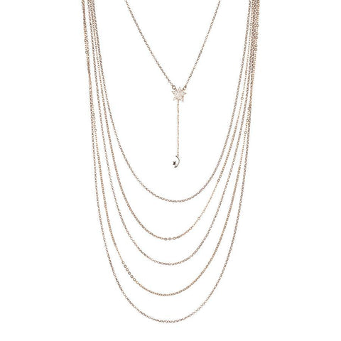 Multi-Strand necklace degradè with pendant in zircons