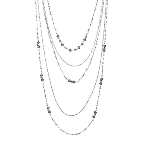 Multi-Strand necklace degradè with Swarovski blue denim