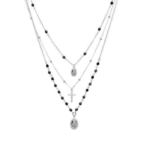 Multi-Strand necklace with medals sacred, Swarovski jet and zircons