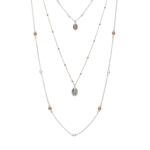 Multi-Strand necklace bicolor with sacred elements, diamond balls and zircons