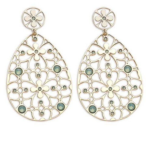 Earrings in bronze and Swarovski Crystals mauve green opal