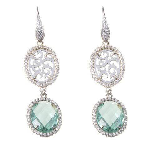 Earrings with zircons and briolette crystal water green