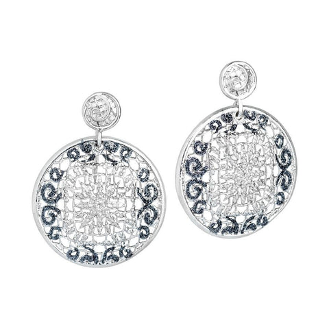 Earrings Pendant with circular and glitter bicolor
