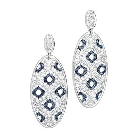 Earrings with oval pendant and glitter bicolor
