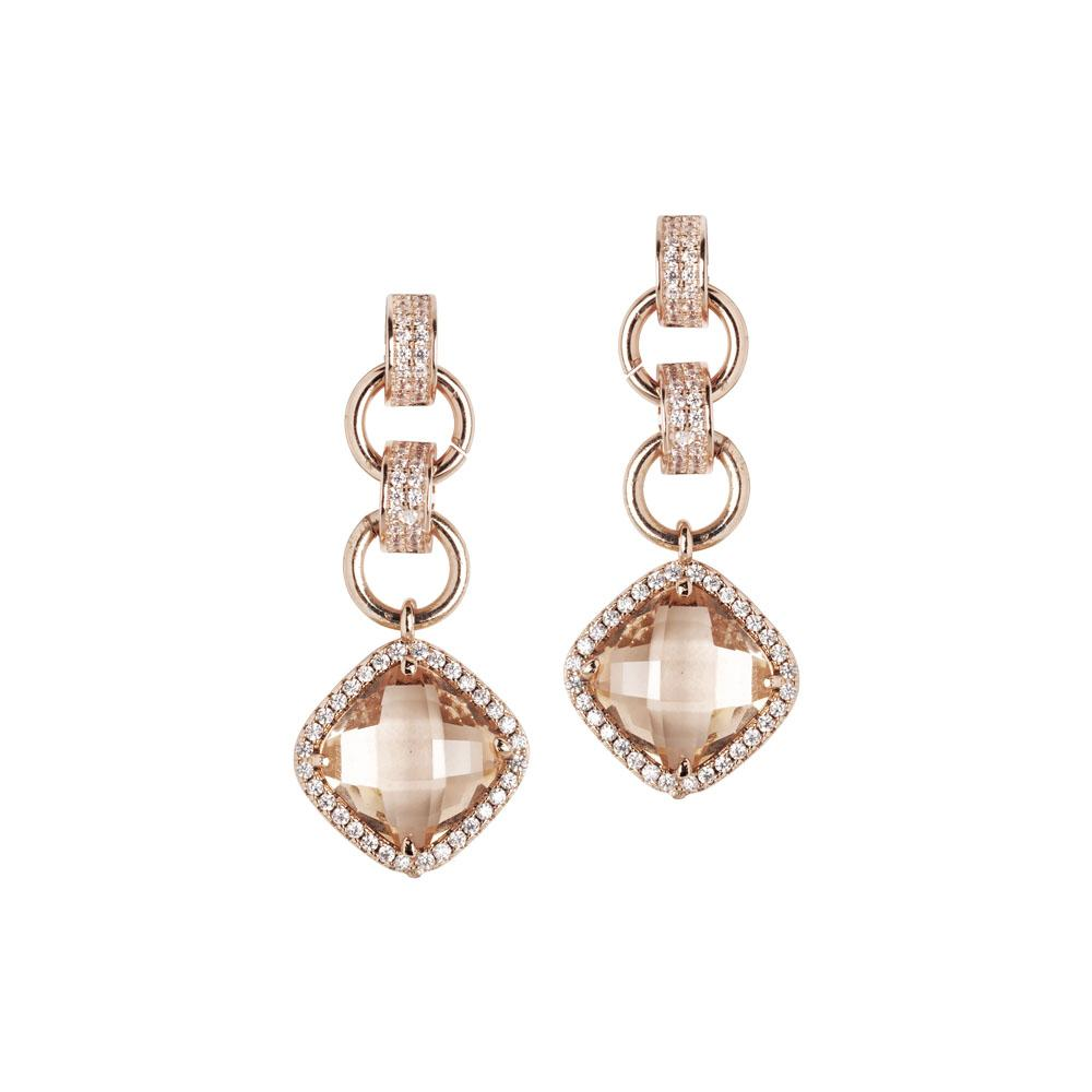 Earrings with crystal pendant peach and zircons