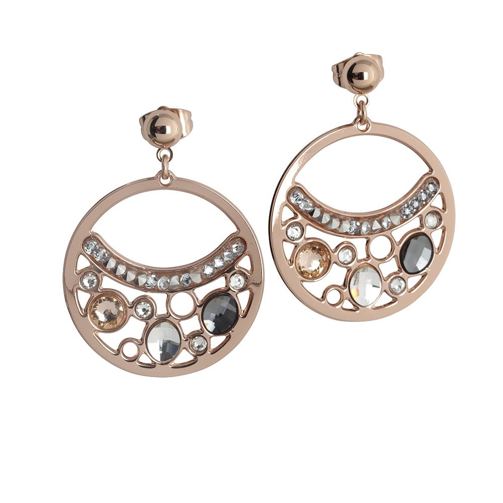 Plated Earrings Pink Gold pendant with a circle and Swarovski Crystals