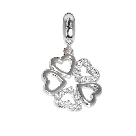 Charm in the shape of a four-leaf clover with zircons