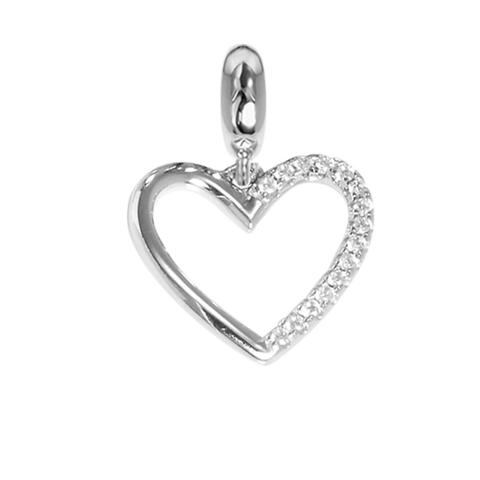 Charm in the shape of a heart with profile in zircons