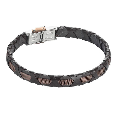 Bracelet brown leather, insert rosato and braided decoration