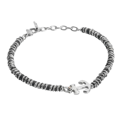 Soft Bracelet with anchor and black washers and rhodium-plated
