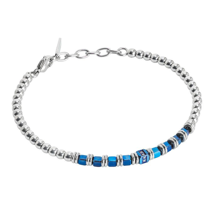 Bracelet beads with hematite and blue zircons