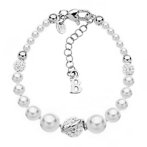 Bracelet in silver with pearls and rhinestones