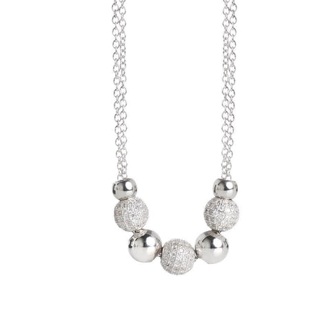 Necklace double wire with smooth balls and zirconate