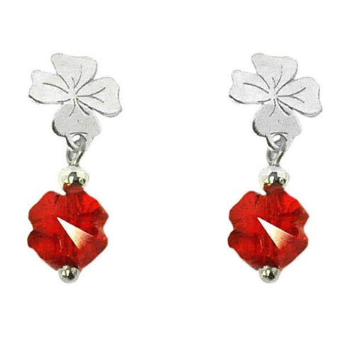 Earrings Pendant in silver with Swarovski Red