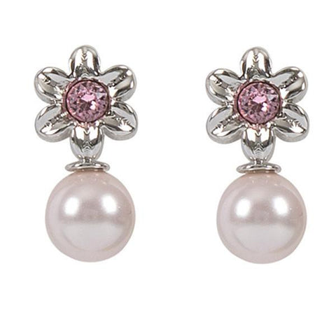 Earrings in the lobe with flower, Swarovski Crystal pink and pearl