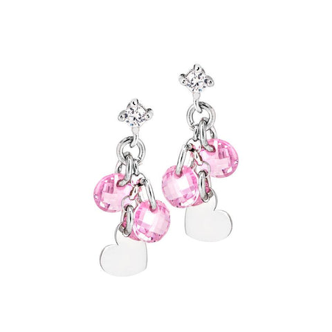 Silver earrings with charms and zircons rosa