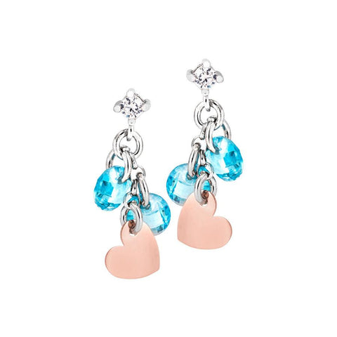 Silver earrings with charms rose and light blue zircons