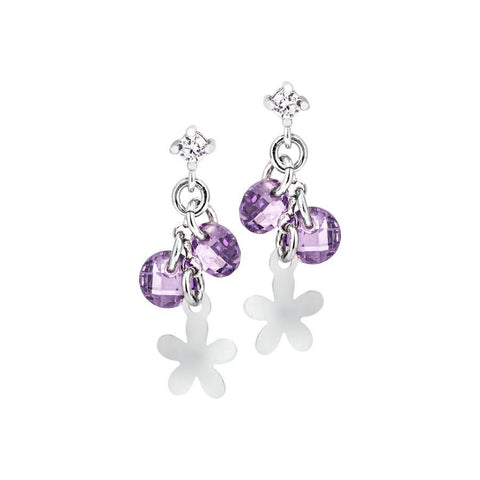 Silver earrings with rodiati charms and zircons lavender
