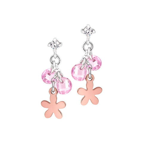 Silver earrings with charms rose and rose zircons