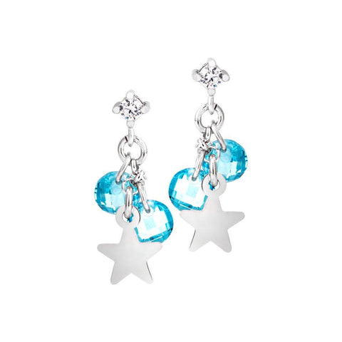 Silver earrings with rodiati charms and light blue zircons