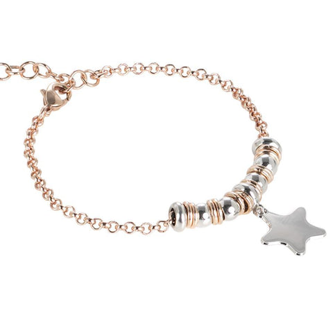 Bracelet bicolor with star rhodium plated pendant
