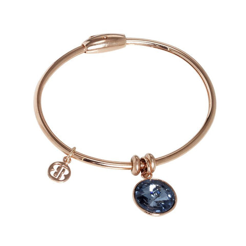 Bracelet with charm in Swarovski Crystal blue denim