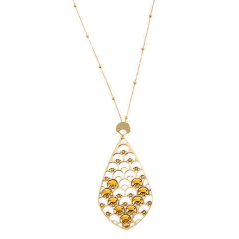 Long necklace Gold Plated yellow with decoration scales and crystals