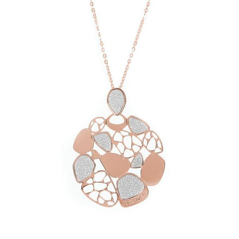 Necklace bicolor with perforated pendant and glitter
