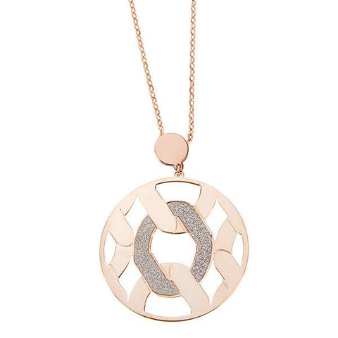 Necklace gold plated pink with grumetta pendant