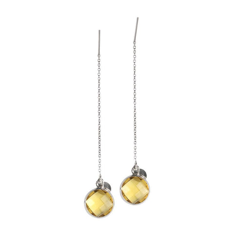 Earrings latch with briolette crystal yellow